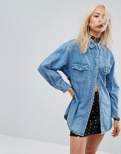 Фестивальная джинсовая рубашка в винтажном стиле со шнуровкой сбоку Milk It - Синий
