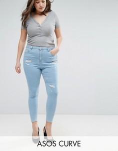 Голубые джинсы скинни с завышенной талией ASOS CURVE Ridley Hibiscus - Синий