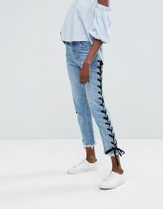 Прямые джинсы со шнуровкой Missguided - Синий