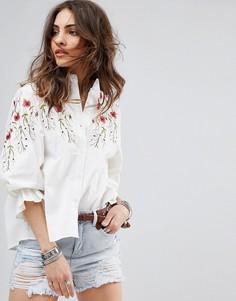 Блузка с вышивкой и пышными рукавами Boohoo - Белый