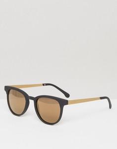 Черно-золотистые солнцезащитные очки в квадратной оправе Komono Francis - Черный