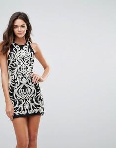 Платье мини с отделкой пайетками Endless Rose - Черный