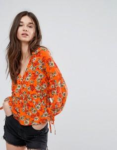 Блузка на пуговицах с цветочным принтом и баской Influence - Оранжевый