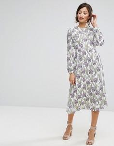 Платье миди с принтом Darling - Фиолетовый