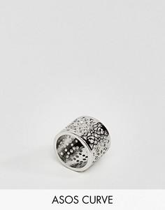 Филигранное кольцо с прорезной отделкой ASOS CURVE - Серебряный