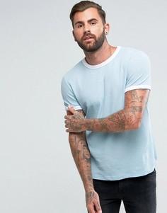 Синяя футболка из фактурного трикотажа ASOS - Синий