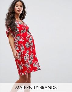 Платье миди с цветочным принтом New Look Maternity - Красный