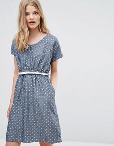 Платье из ткани шамбре в горошек с поясом Yumi - Синий