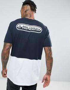Длинная футболка с принтом, контрастной вставкой и кнопками сбоку ASOS - Темно-синий
