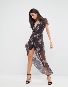 Платье макси с запахом и цветочным принтом Hope & Ivy - Черный