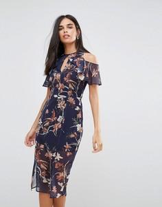 Платье миди с открытыми плечами и оборками Hope & Ivy - Черный