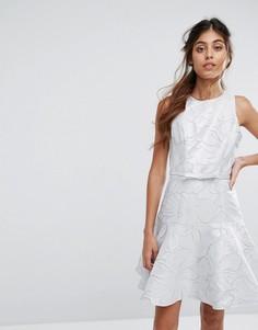 Короткое приталенное платье Coast Francesca - Серебряный