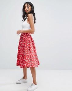 Короткая расклешенная юбка в стиле 50-х Hell Bunny - Красный