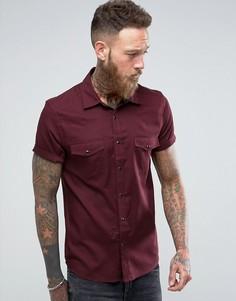 Бордовая вискозная рубашка классического кроя в стиле вестерн ASOS - Красный