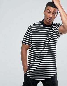 Супердлинная футболка в полоску с закругленным краем и высоким воротником ASOS - Черный