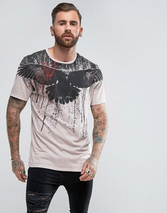 Длинная футболка с принтом на кокетке ASOS - Бежевый