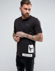 Свободная футболка с принтом и эффектом кислотной стирки ASOS - Черный
