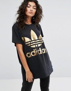 Черная футболка с золотистым логотипом adidas Originals - Черный