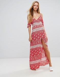 Платье макси с открытыми плечами Parisian - Красный