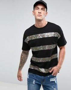 Оверсайз-футболка в разноцветную полоску ASOS - Черный