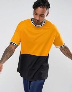 Oversize-футболка с сетчатой вставкой и монохромным кантом ASOS - Желтый