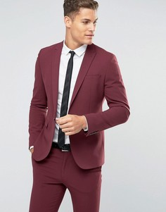 Бордовый пиджак зауженного кроя ASOS - Красный