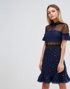 Короткое приталенное платье с воротником Three Floor - Темно-синий