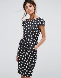 Платье миди в горошек с короткими рукавами и карманами Closet - Мульти