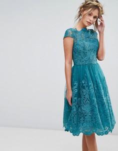 Кружевное платье миди Chi Chi London - Зеленый