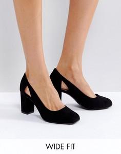 Туфли-лодочки из искусственной замши для широкой стопы New Look - Черный