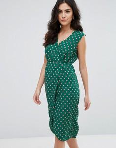 Фактурное платье миди с запахом Darling - Зеленый