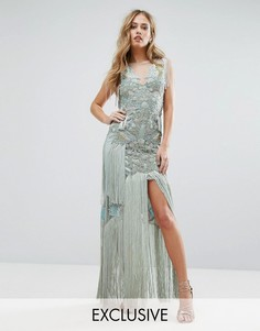 Декорированное платье макси с птицами и кисточками A Star Is Born - Серый