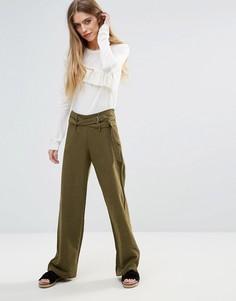 Широкие брюки с поясом First & I - Зеленый