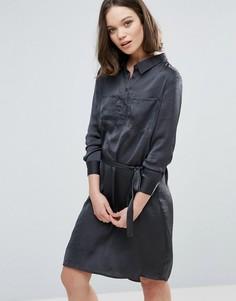 Платье-рубашка с поясом Ichi - Черный