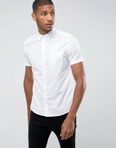 Оксфордская приталенная рубашка с короткими рукавами Burton Menswear - Белый