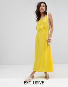 Платье макси с кружевом Boohoo - Желтый
