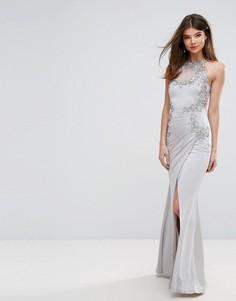 Платье макси с кружевной аппликацией и американской проймой Lipsy - Серебряный