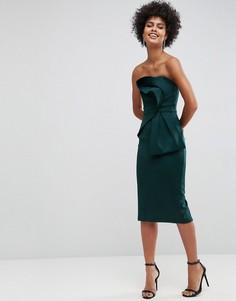 Платье-бандо миди с бантом ASOS - Зеленый