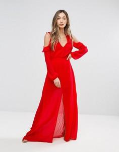 Платье макси с открытыми плечами и оборками Pearl - Красный