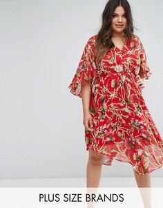 Платье миди с цветочным принтом Boohoo Plus - Мульти