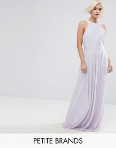 Плиссированное платье макси с высоким воротом TFNC Petite WEDDING - Фиолетовый