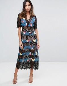 Платье в полоску с кружевной вставкой Foxiedox - Мульти