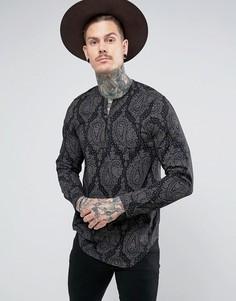 Рубашка классического кроя с принтом и V-образным вырезом ASOS - Черный