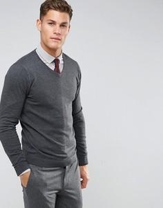 Темно-серый джемпер с V-образным вырезом Burton Menswear - Серый