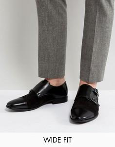 Черные кожаные монки для широкой стопы ASOS - Черный