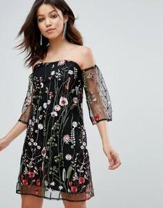 Платье с открытыми плечами и цветочной вышивкой Parisian - Черный