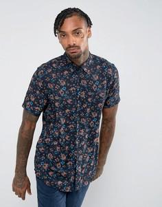 Рубашка классического кроя из вискозы с цветочным принтом ASOS - Черный