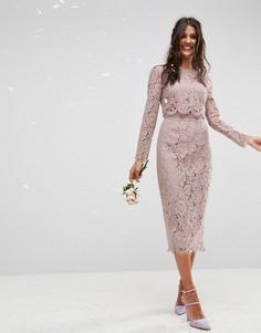 Кружевное платье-футляр миди с длинными рукавами ASOS WEDDING - Бежевый