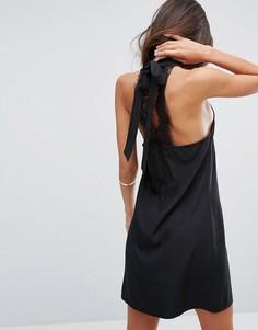 Платье с высоким воротом и кружевом на спине Fashion Union - Черный
