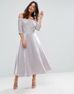 Платье миди с кружевом и открытыми плечами Glamorous - Серебряный